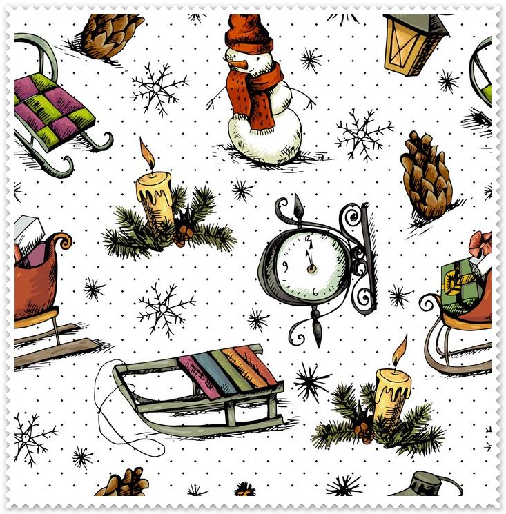 Tkanina na zasłony - święta i śnieg