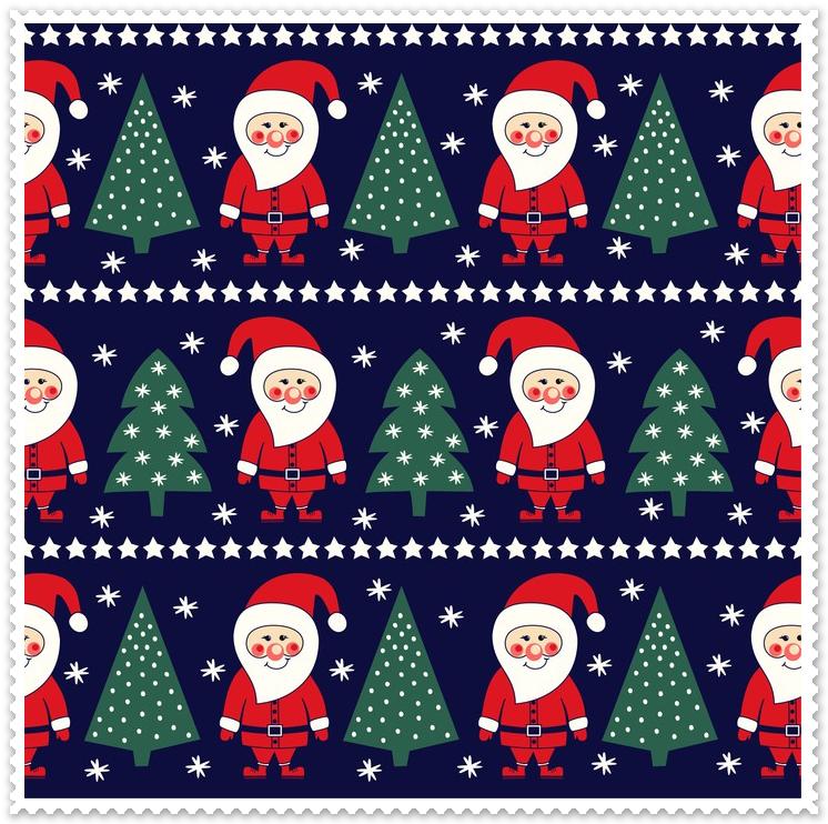 Materiał na zasłony i poduszki z Mikołajem