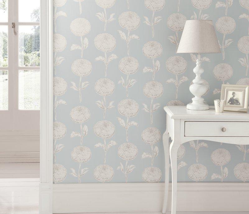 Niebieska tapeta ścienna do salonu, sypialni