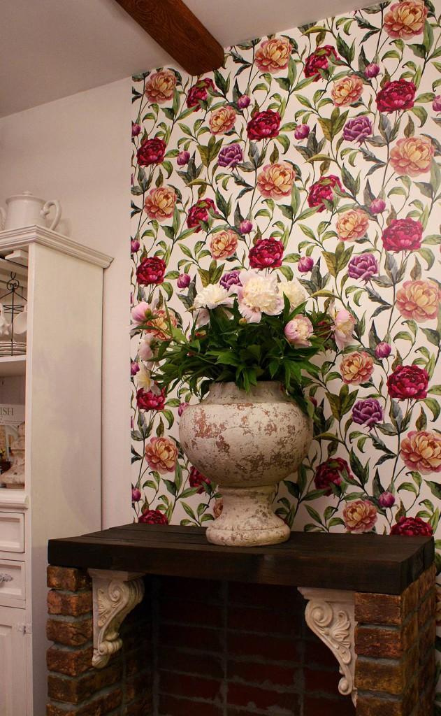 Tapeta w peonie łącznie z pięknymi dekoracjami Pani Kasi
