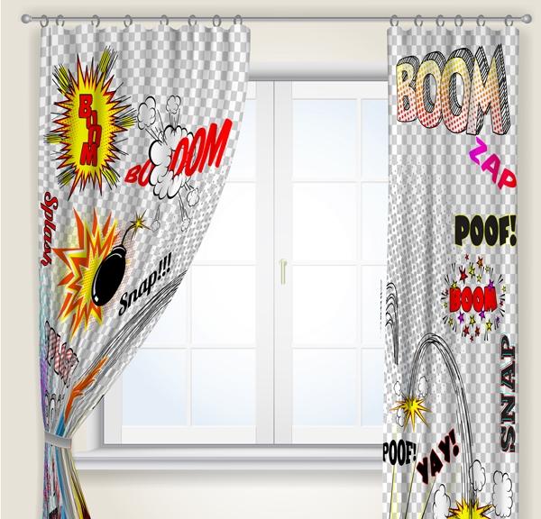 Zasłona zaprojektowana na bazie wybranego wzoru - kolekcja zasłon do pokoju młodzieżowego
