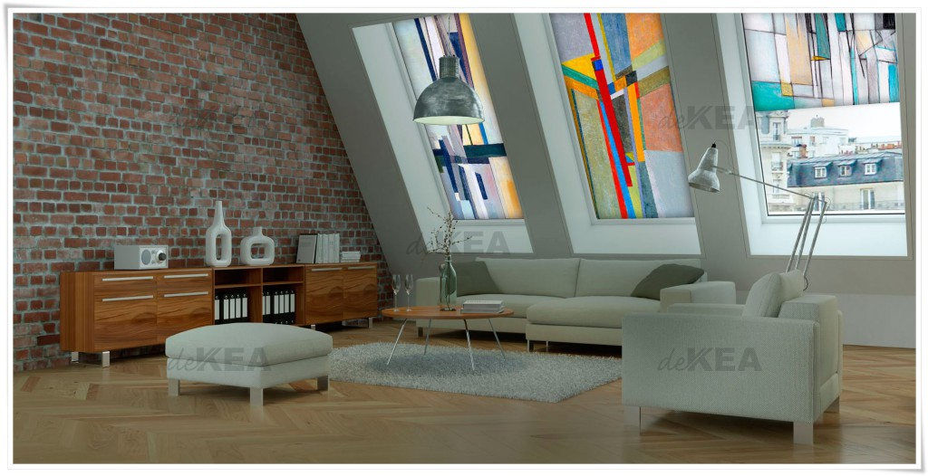 Rolety dachowe deKEA do salonu - abstrakcja