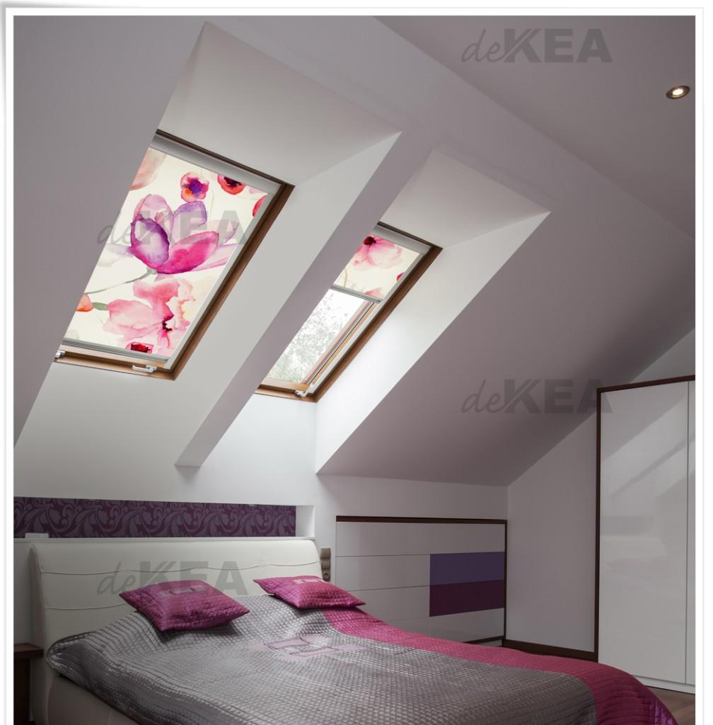 Rolety dachowe deKEA na okna Velux do sypialni