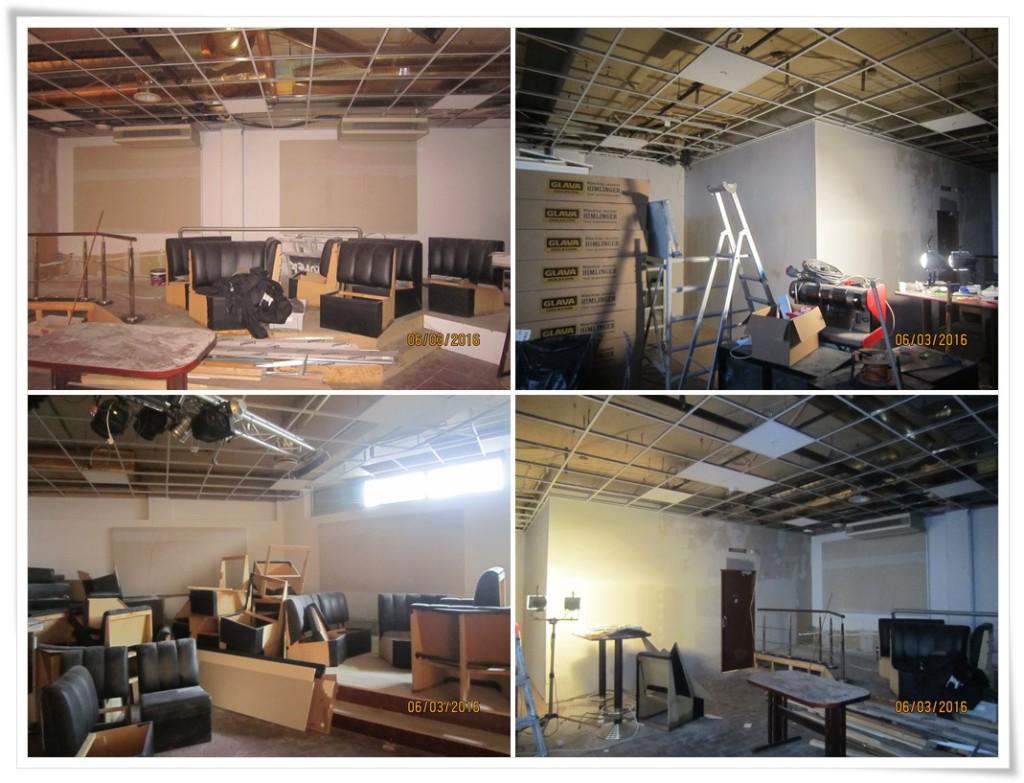 Pomieszczenia restauracji w trakcie remontu
